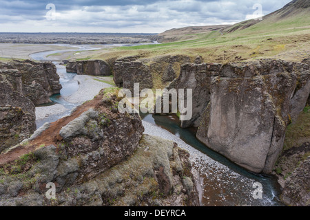Fjadrargljufur gorge, south east Iceland, with the Fjaðrá river flowing through it