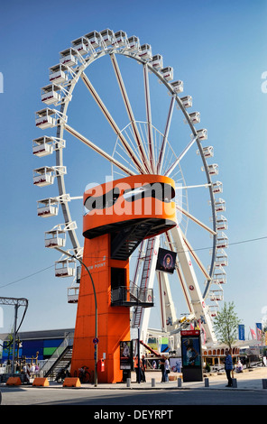 View Point, look-out tower, and ferris wheel in HafenCity of Hamburg - Stock Photo