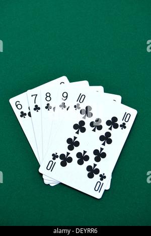 Straight Flush, playing cards, poker - Stock Photo