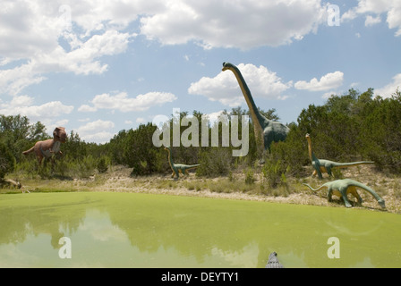 Dinosaur World at Glen Rose Texas USA - Stock Photo