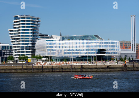 Marco Polo Tower and the Unilever headquarters on Strandkai area, Hafencity district, Hamburg - Stock Photo
