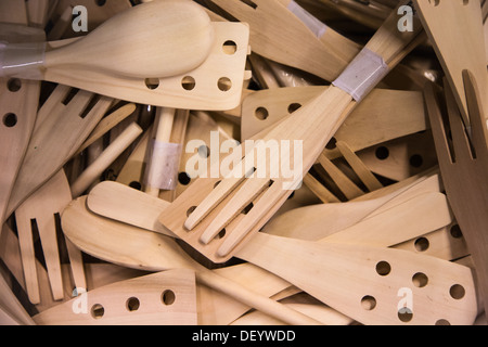 Wooden cooking utensils on display in an IKEA store - Stock Photo
