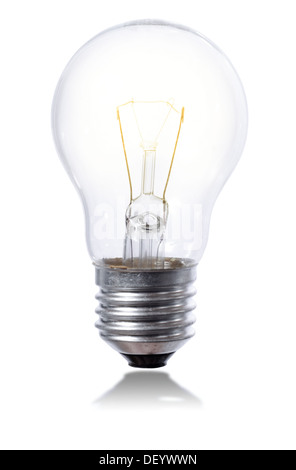 light bulb isolated on a whit background with element slightly iluminated - Stock Photo