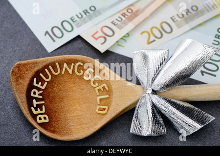 Wooden spoon with the word Betreuungsgeld, German for carer's benefit, from pasta letters, next to euro banknotes - Stock Photo