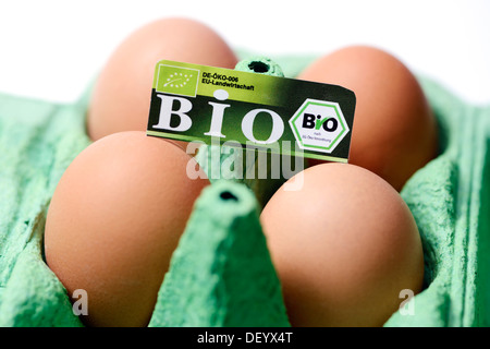 Hen's eggs with organic seal, symbolic image for mislabeled organic eggs, Germany - Stock Photo