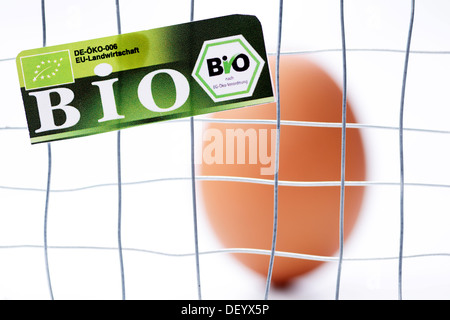 Hen's egg behind cage-bars with organic seal, symbolic image for mislabeled organic eggs, Germany - Stock Photo