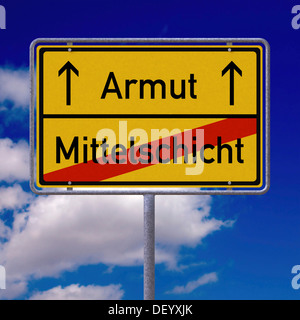 German place-name sign, lettering 'Mittelschicht', German for 'middle class', and 'Armut', German for 'poverty' - Stock Photo