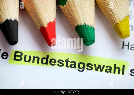 Stroke parliamentary elections and four coloured pencils, Schriftzug Bundestagswahl und vier Buntstifte Stock Photo