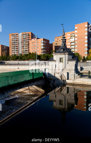 Manzanares river and park of Madrid Rio, an ecological development, in Madrid, Spain, Europe - Stock Photo