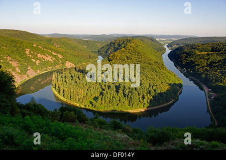 Sinuosity of the river Saar from the viewpoint Cloef near Orscholz, Mettlach, Saarland - Stock Photo