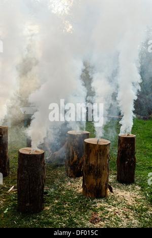 Burning, smoking Swedish torches, flaming torch - Stock Photo