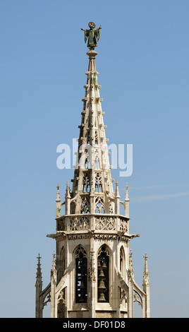 Tower of the New City hall with Muenchner Kindl figure, seen from the tower of the Peterskirche church, Munich, - Stock Photo
