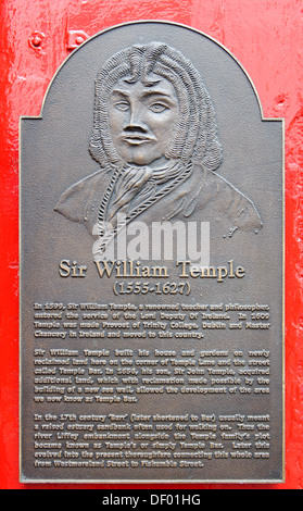 William Temple, 1555 - 1627, Irish ramist and provost, memorial plaque at the Temple Bar, Crown Alley, Dublin - Stock Photo