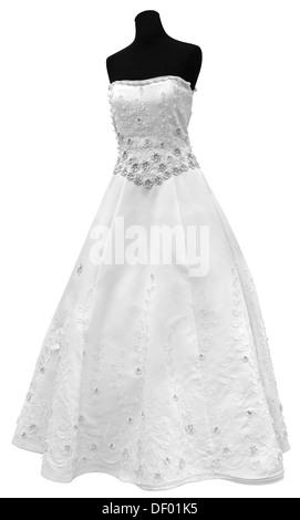 Beautiful and modern white wedding dress isolated on white background - Stock Photo