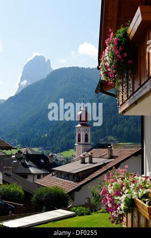 St. Ulrich or Ortisei, Val Gardena valley or Groednertal valley, province of Bolzano-Bozen, Alto Adige, Italy, Europe - Stock Photo