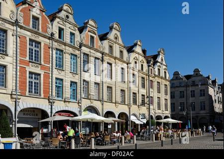 Gabled houses on Place des Heros square, Arras, Pas-de-Calais, France, Europe - Stock Photo