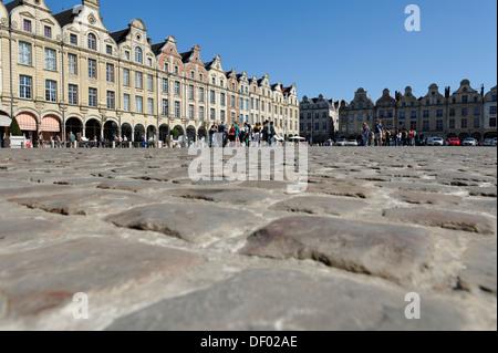 Cobblestones, gabled houses on Place des Heros square, Arras, Pas-de-Calais, France, Europe - Stock Photo