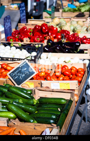 Vegetable stall, food market, in Sault, Vaucluse, Provence, France, Europe - Stock Photo