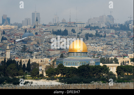 View from the Mount of Olives on the Dome of the Rock on the Temple Mount in the Old City of Jerusalem, Israel, - Stock Photo