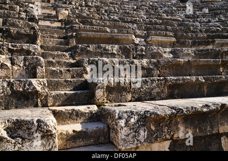 Stairs, Roman amphitheater, archaeological excavation site, Tel Beit She'an or Tell Beth-Shean, Israel, Middle East - Stock Photo