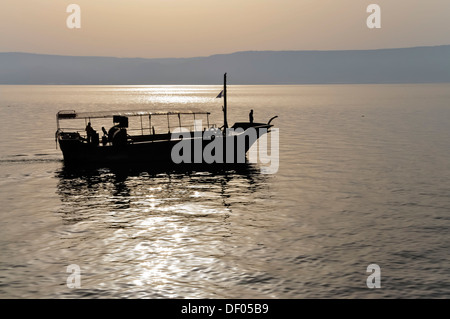 Fishing boat on the Sea of Galilee or Lake of Gennesaret, Tiberias, Israel, Middle East, Southwest Asia, Asia - Stock Photo