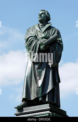 Statue of Martin Luther, 1483 - 1546, reformer, Luther Memorial, by E Ritschel, 1868, Worms, Rhineland-Palatinate, - Stock Photo