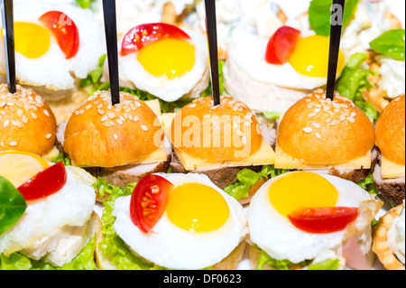 canape with meat seafood and vegetables on a white background - Stock Photo