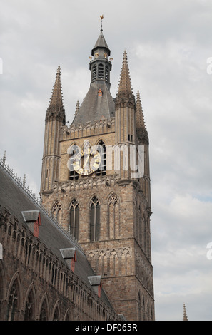 The clock tower of the Cloth Hall in the Grote Market, in the centre of Ieper (Ypres), Belgium. - Stock Photo
