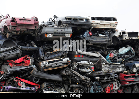 Scrap cars stacked in the port, Hanseatic city of Hamburg - Stock Photo