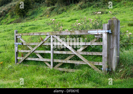 open wooden five bar gate field entrance in rural ireland - Stock Photo