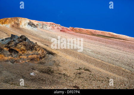 Brennisteinsalda volcano with the Laugahraun lava field, rhyolite mountains, Landmannalaugar, Fjallabak Nature Reserve - Stock Photo