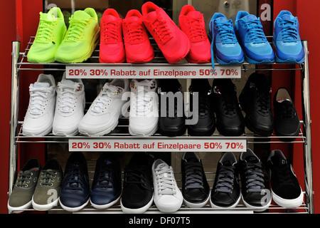 Sports shoes, Koenigsstrasse, shop in the town centre, Stuttgart, Baden-Wuerttemberg - Stock Photo