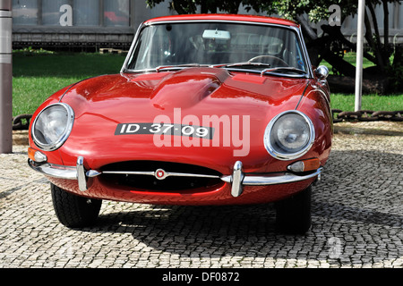 Jaguar E-Type 4.2-litre, classic car, Belem district, Lisbon, Portugal, Europe - Stock Photo