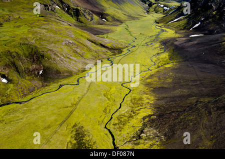 Aerial view, river and moss, Craters of Laki or Lakagígar region, Icelandic Highlands, Southern Iceland, Suðurland, - Stock Photo