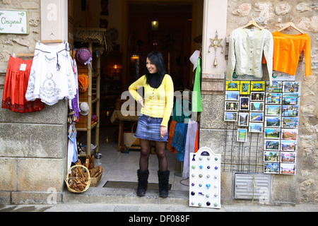 Souvenirshop at Village Fornalutx near Soller,  Mallorca, Balearic Islands, Spain - Stock Photo
