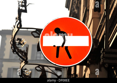 Changed traffic sign, no entry for vehicular traffic, passage prohibited, Milan, Italy, Europe - Stock Photo