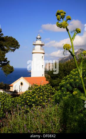 Lighthouse at Cap Gros obove Port Soller,  Mallorca, Balearic Islands, Spain - Stock Photo