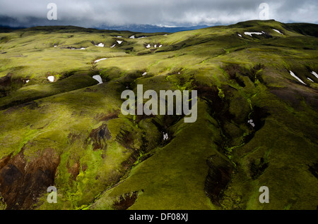 Aerial view, moss-covered landscape, Icelandic Highlands, Iceland, Europe - Stock Photo
