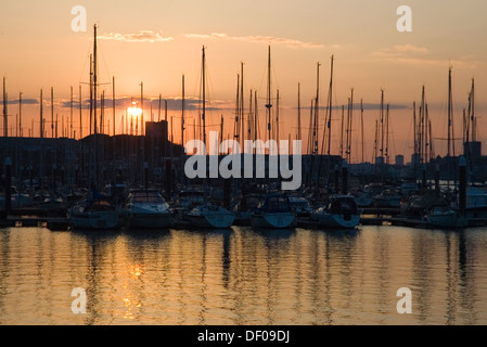 Sunset over Mount Batten, Plymouth, Devon - Stock Photo