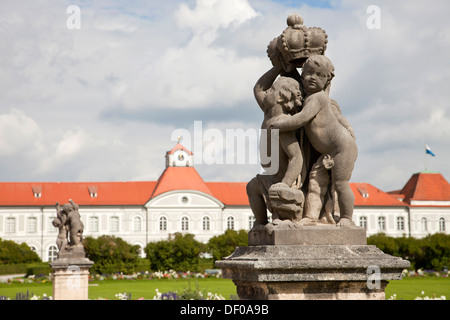 statues in front of Nymphenburg Palace in Munich, Bavaria, Germany - Stock Photo