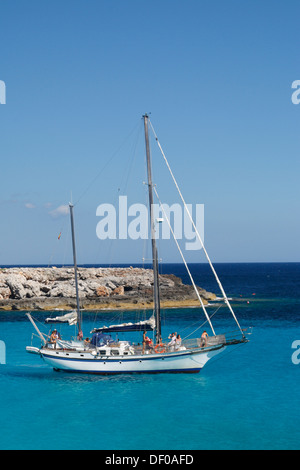 Bay with boats near Son Xoriguer, Menorca, Spain, Europe - Stock Photo