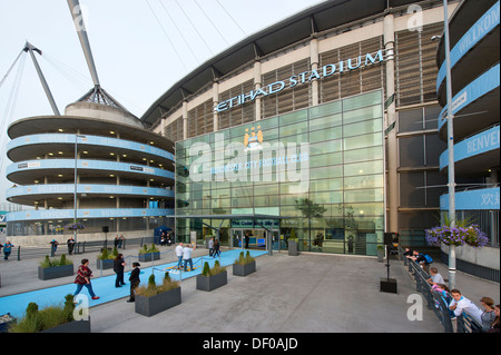 An external view of the Etihad Stadium, home of Manchester City Football Club (Editorial use only). - Stock Photo