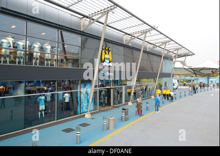 The CityStore merchandising store at the Etihad Stadium, home of Manchester City Football Club (Editorial use only). - Stock Photo