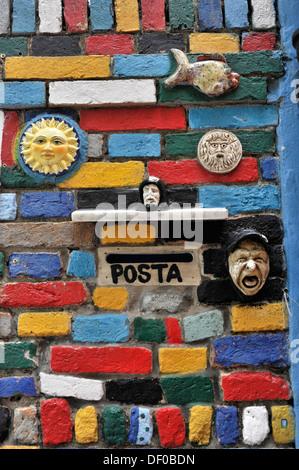 Entrance to a house, postbox, colourful facade, island of Burano, Venice, Veneto, Italy, Europe - Stock Photo