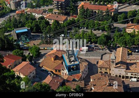 San Marino, Funicular, Monte Titano, Republic of San Marino, Italy - Stock Photo