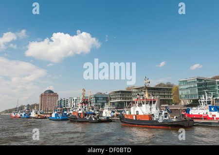 Tug-station in the port, Augustinum senior residence with a glass dome, Altona, Hamburg, northern Germany, Europe - Stock Photo