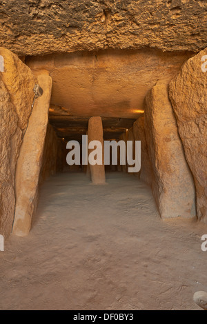 Dolmen of Menga, Menga Megalithic Dolmen, Antequera, Málaga province, Andalusia, Spain - Stock Photo