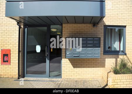 Wimbledon London England Intercom System And Locked Mailboxes At Entrance To Flats - Stock Photo