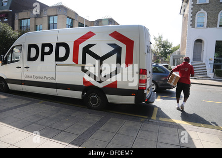 Wimbledon London England DPD Delivery Van And Man With Parcel