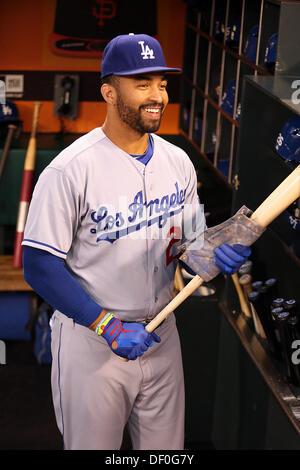 San Francisco, CA, USA. 24th Sep, 2013. September 24, 2013 San Francisco, CA.Los Angeles Dodgers outfielder Matt - Stock Photo